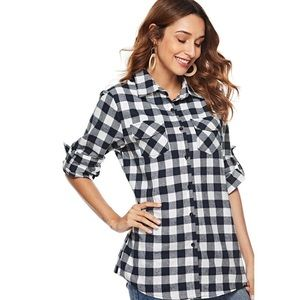DKNY Button Up Plaid Cotton Roll-Tab-Sleeve Shirt